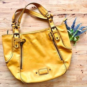 NINE WEST   Mustard Vegan Leather Shoulder Bag